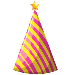 Party hat with pink and yellow striped vector image