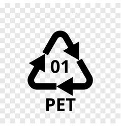 Pet recycling code plastic arrow icon vector