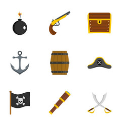 pirates attributes icon set flat style vector image