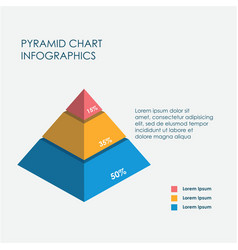 pyramid chart infographics elements 3d flat vector image