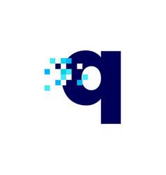 Q letter lowercase pixel mark digital 8 bit logo vector