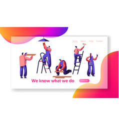repair service professional worker landing page vector image