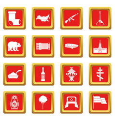 Russia icons set red vector