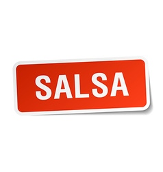 Salsa red square sticker isolated on white vector