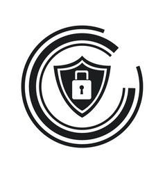 security technology padlock shield internet line vector image