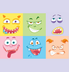 Set of colourful monster faces vector