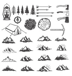 Set of mountains icons hiking elements design vector