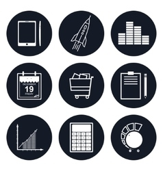 Set of Round Business Icons vector image