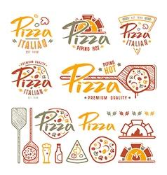 set pizzeria labels badges and design elements vector image