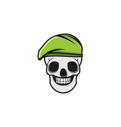 Skull and green military hat logo designs vector