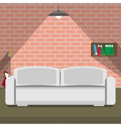 Sofa on the brick wall background loft style vector