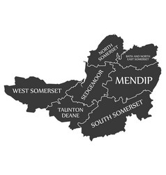 Somerset county england uk black map with white vector