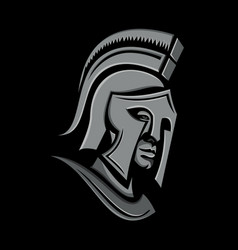 Spartan warrior head metallic icon vector