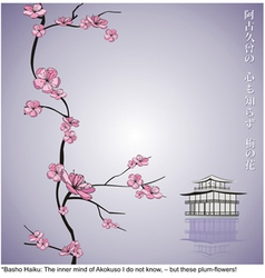 Spring flowering branch with japanese haiku and ta vector