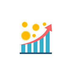 statistic chart with coins flat icon vector image