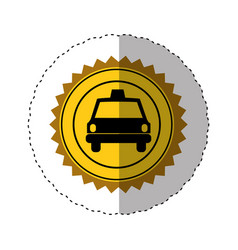 Sticker color of circular seal with taxi car vector