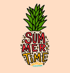 summer time pineapple with lettering vector image
