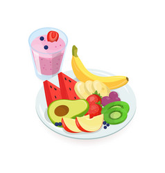 tasty slices of fresh exotic fruits lying on plate vector image