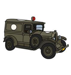 the vintage military ambulance vector image