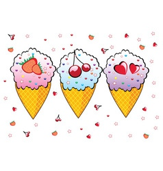 three ice creams vector image