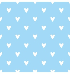 Tile pattern with white hearts on blue background vector