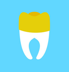 tooth with gold dental crown isolated dentist vector image
