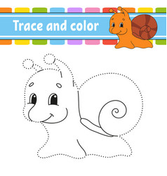 Trace and color snail mollusk coloring page vector