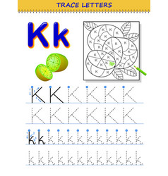 Tracing letter k for study alphabet printable vector