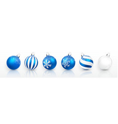transparent and blue christmas ball with snow vector image