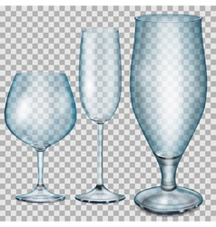 Transparent blue empty glass goblets vector