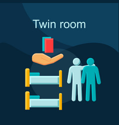 twin room flat concept icon vector image