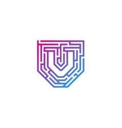 V maze letter logo icon design vector