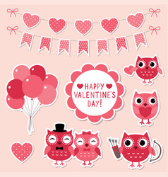 valentine cartoon owls vector image vector image