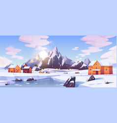 winter mountain landscape with houses or chalets vector image