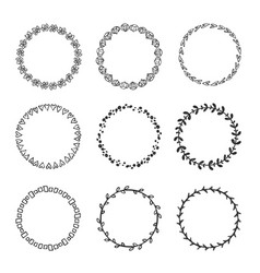 wreaths hand drawn collection vector image