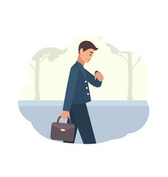 young man going to work in morning male character vector image