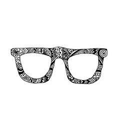 Zentangle patterned glasses on white background vector