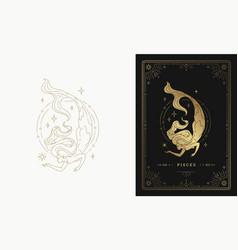 zodiac pisces girl character horoscope sign line vector image