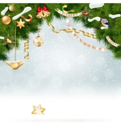 Christmas background with fir and gold balls vector image