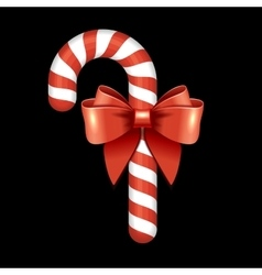 Christmas Candy Cane with Red Ribbon vector image