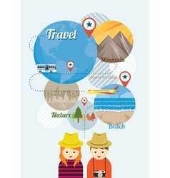 Couple Tourist with Traveling Icons Worldwide vector image