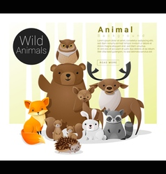 Cute animal family background with Wild animals vector image