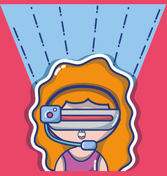 girl with 3d glasses technology to virtual reality vector image vector image