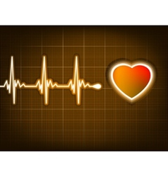 Graph from a heart beat and a heart EPS 8 vector image vector image