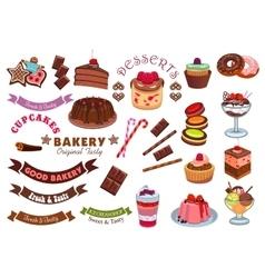 Pastry and bakery shop cafe emblem design element vector image vector image
