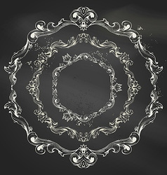 set of circle chalk frames vector image