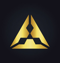 triangle gold diamond logo vector image