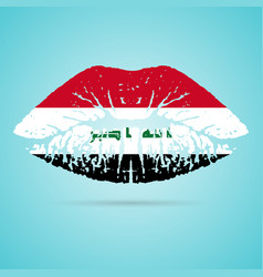 iraq flag lipstick on the lips isolated on a white vector image vector image