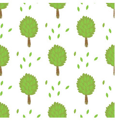 leaves of green trees seamless pattern vector image