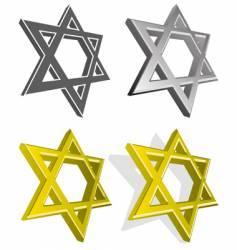 set of jewish stars vector image